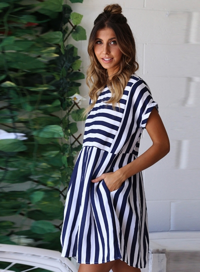Fashion Striped Loose Short Sleeve Round Neck Women Dress