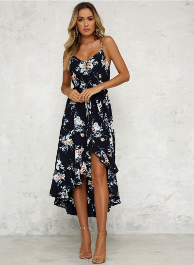 a32fe3ce9df040 Fashion Sexy Iregular Floral Printed Spaghetti Strap Backless Midi Dress
