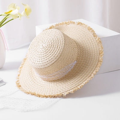 Fashion Casual Summer Wide Brim Straw Dome Sun Hat With Lace