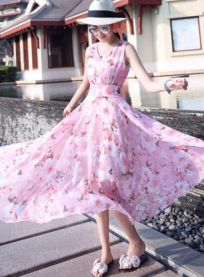 Fashion Floral Printed Sleeveless Elastic Waist V Neck Maxi Dress