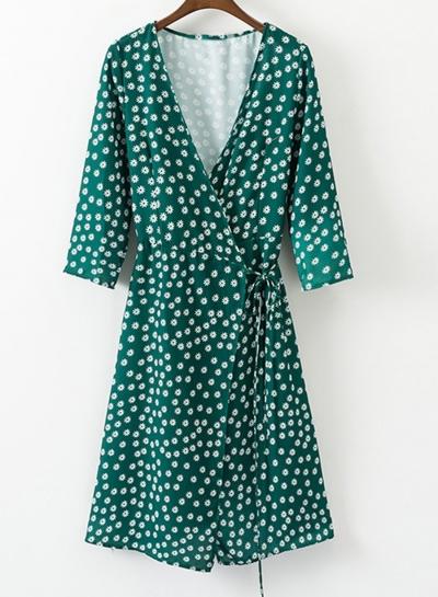 Fashion Slim Floral Printed Tie Waist Long Sleeve V Neck Women Dress