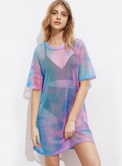 Fashion Sexy Loose Multi-color Gauze Short Sleeve Round Neck Women Dress