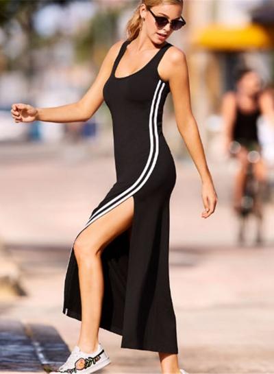 Fashion Casual Slit Color Blocked Sleeveless Round Neck Mini Dress
