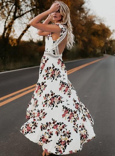 Irregular Floral Printed Sleeveless V Neck Women Swallowtail Maxi Dress