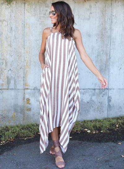 Irregular Loose Striped Spaghetti Strap Maxi Dress
