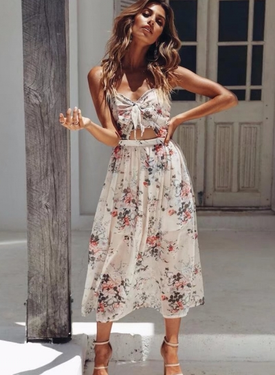 Sexy Floral Printed Halter Sleeveless Backless Lace-up Women Midi Dress