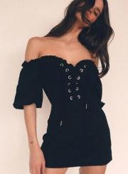 5a9b8196116 ... Eyelet Lace up Short Sleeve Off The Shoulder Slash Neck Mini Dress ...