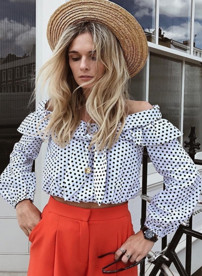 Sexy Sweet Long Sleeve Slash Neck Women Bow Blouse With Polka Dots