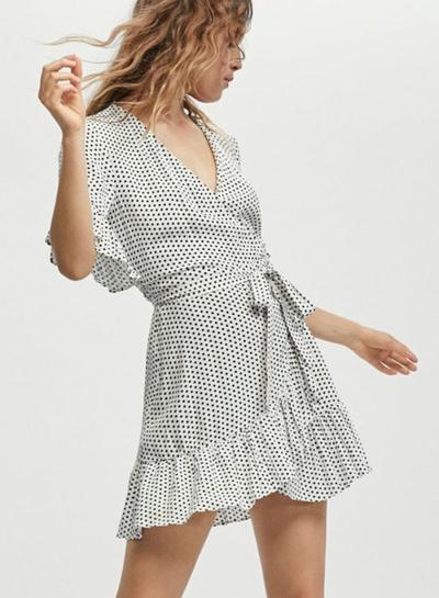 caae9c74c7ab Summer Half Flounce Sleeve V Neck Tie Waist Women Dress With Polka Dots