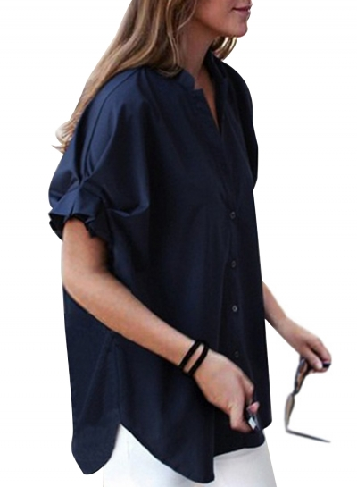 Fashion Casual Solid Short Sleeve Lace-up V Neck Button Down Shirt