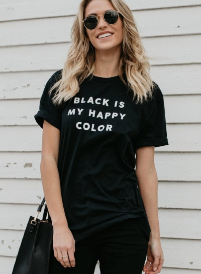 Summer Concise Short Sleeve Round Neck Tee Shirt With Letters