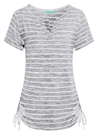 Summer Slim Striped Short Sleeve V Neck Tee Shirt With Drawstring