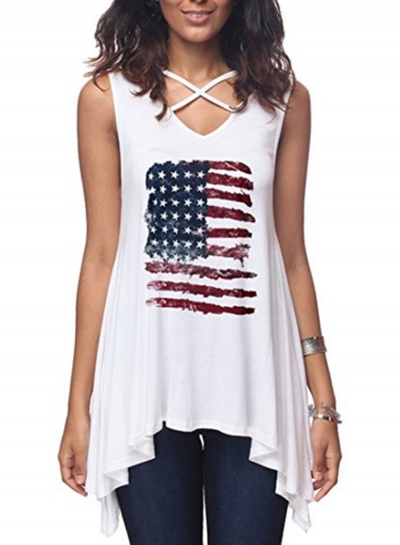 Casual Irregular Loose Sleeveless Criss Cross V Neck Tank
