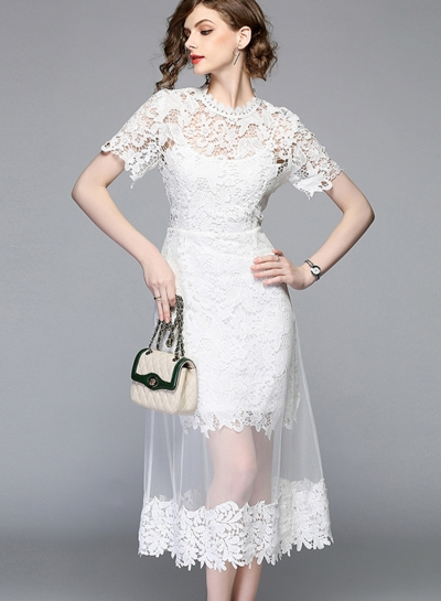Fashion Slim Lace Spicing Short Sleeve Mock Neck Women Maxi Dress