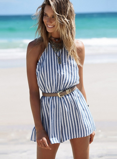 e4b09630830 Sexy Slim Striped Sleeveless Backless Wide Leg Women Rompers With Belt