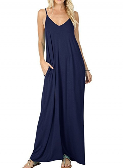 Solid Spaghetti Strap Sleeveless V Neck Maxi Dress With Pockets