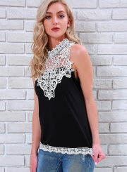 Casual Slim Lace Spicing Sleeveless Round Neck Tank