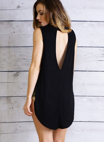 Fashion Casual Solid Loose Sleeveless Round Neck Slit Tank