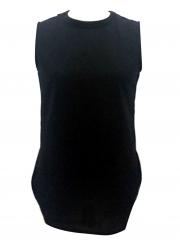Fashion Casual Solid Loose Sleeveless Round Neck Slit Tank