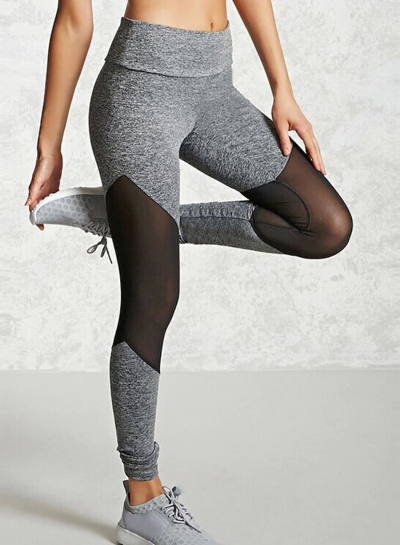 Casual Slim Mesh Panel Spicing High Waist Yoga Leggings