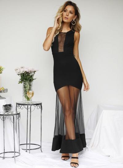 Fashion Sexy Slim Mesh Spicing Sleeveless Women Maxi Dress With Zip