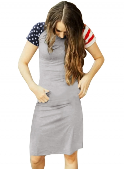 Casual Slim Gray Patriotic Tee Dress
