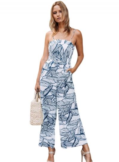 Navy Leaf Vein Print White Wide Leg Women Jumpsuit