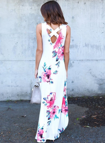 White Floral Pocketed Holiday Maxi Boho Dress
