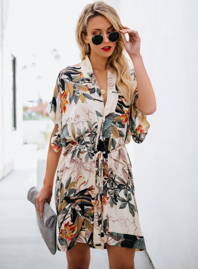 Fashion Loose Floral Printed Waist Tie Short Sleeve V Neck Midi Dress
