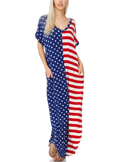 Loose The Stars and Stripes V-Neck Pocket Women Maxi Dress