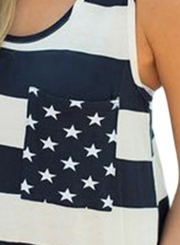Summer Navy White Stripes Pocket Women Tank Top