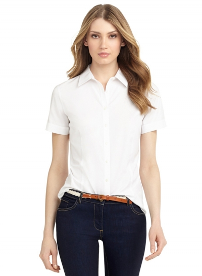 Summer Solid Basic Casual Short Sleeve Button Down White Shirt