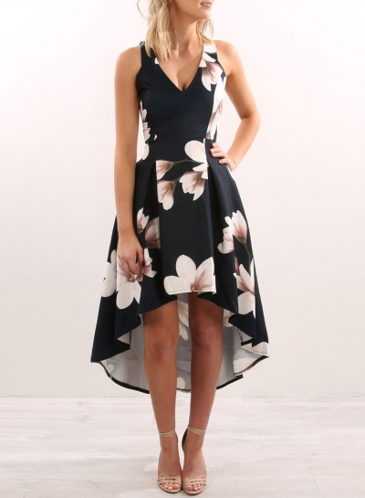 Irregular Floral Printed Sleeveless V Neck Women Maxi Dress With Zip