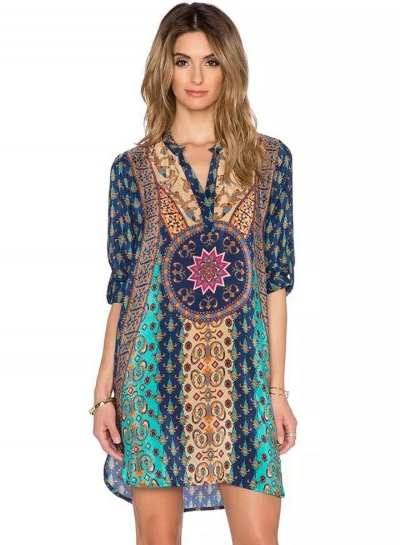Casual Boho Vintage loose Printed Long Sleeve V Neck Women Dress