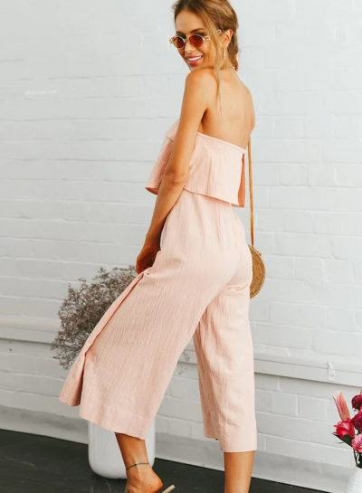 7ce6628f2704 Casual Solid Off The Shoulder Backless Wide Leg Capri Jumpsuit With Zip -  STYLESIMO.com