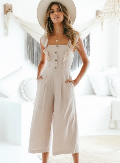 Casual Solid Sleeveless Square Neck Straight Wide Leg Jumpsuit With Button
