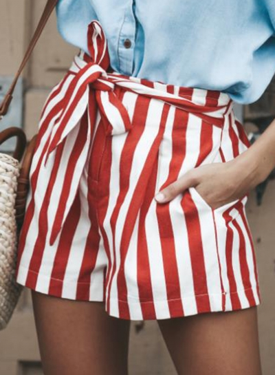 Fashion Casual Loose Striped Waist Tie Straight Wide Leg Women Shorts