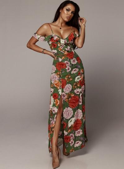 Sexy Boho Floral Printed Spaghetti Strap Ruffle Neckline Slit Maxi Dress