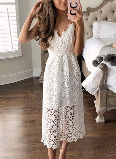 Summer Sexy Boho Solid Lace High Waist Spaghetti Strap V Neck Dress