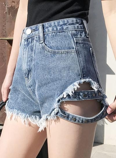 Summer Loose High Waist Wide Leg Burrs Denim Hot Shorts With Pockets