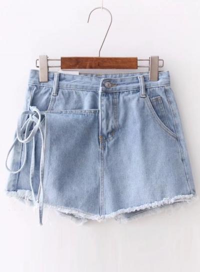 Summer Asymmetric High Waist Lace-up Denim Burrs Shorts With Pockets
