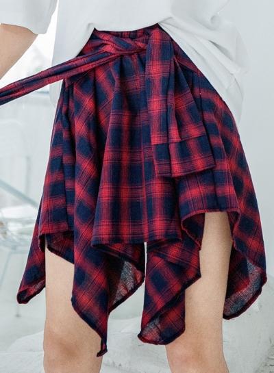 Fashion Loose All-Matched Irregular Grid Waist Tie Skirt