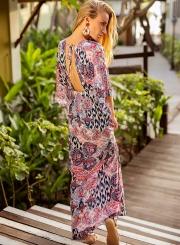 Fashion Printed 3/4 Sleeve V Neck Lace-Up Backless Slit Maxi Dress