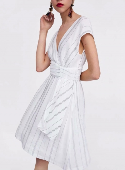 Summer Slim Striped Short Sleeve V Neck High Waist Ruffle Dress
