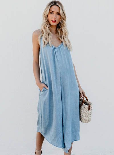 Fashion Loose Solid Spaghetti Strap V Neck Backless Jumpsuit With Pockets