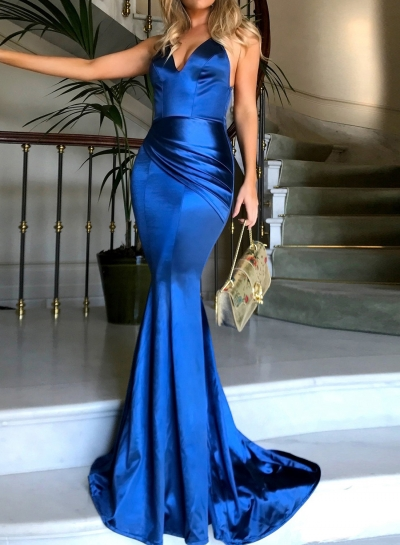 Fashion Sexy Solid Spaghetti Strap V Neck Backless Evening Party Dress