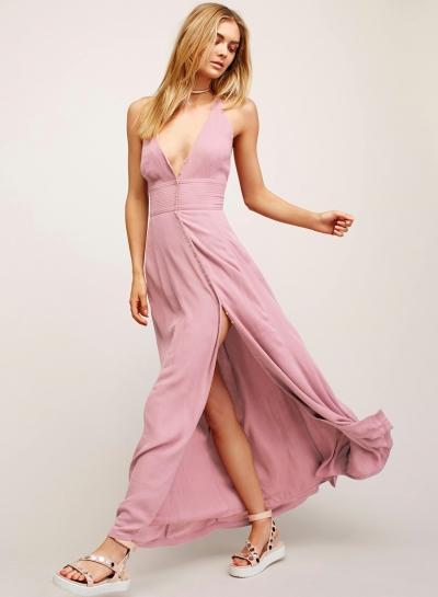 Fashion Solid Halter Off The Shoulder V Neck High Waist Slit Maxi Dress