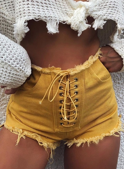 Casual Slim Yellow Lace-Up Straight  Burrs Shorts With Pockets