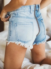 Fashion Splicing High Waist Burrs Zipper Fly Denim Shorts With Pockets