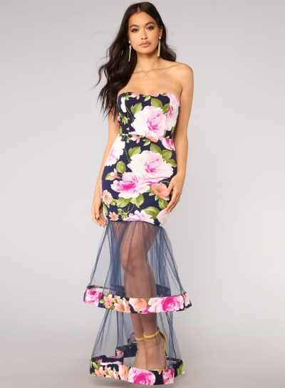 Fashion Floral Printed Chest Wrapped Mesh Splicing A-line Bodycon Dress